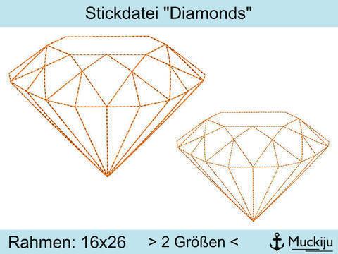 """Stickdatei 16x26 """"Diamonds"""" bei Makerist sofort runterladen"""