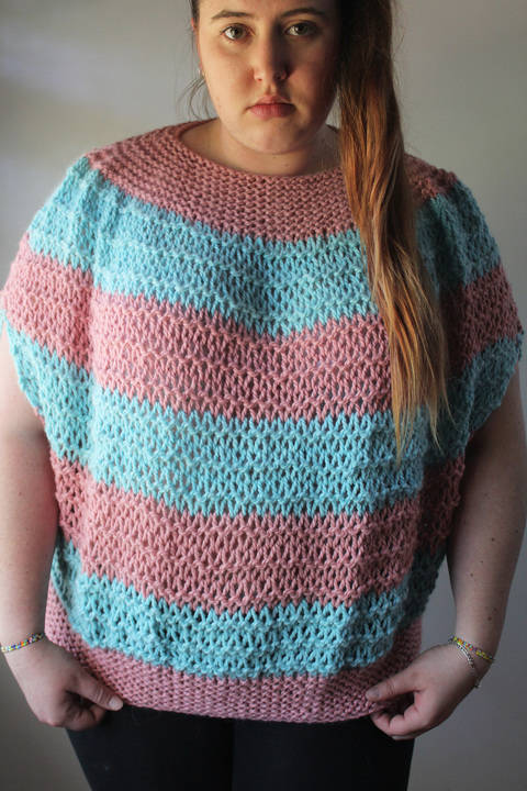 Download Knitted Pink and Blue Top - Knitting Pattern immediately at Makerist
