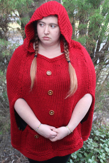 Knitted Red Riding Hood Poncho Knitting Pattern