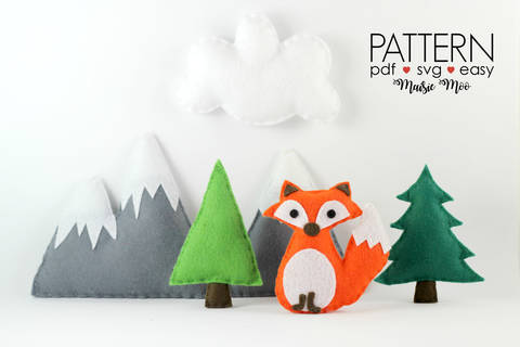 Download Fox Mobile Fox Baby Mobile Pattern Woodland Nursery Mobile immediately at Makerist