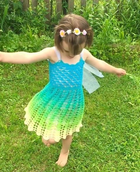 Häkelanleitung Kinderkleid ELFENTRAUM bei Makerist sofort runterladen