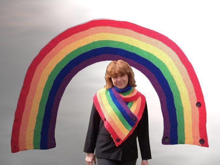 Regenbogen Tuch - Schal - Loop - Strickanleitungen bei Makerist sofort runterladen