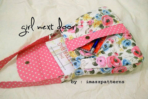 Download A medium size  shoulder bag with a large secret front pocket. Casual style. Detailed tutorial with loads of photos. Easy to make immediately at Makerist