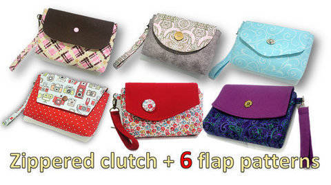 Download zippered clutch- You will get ALL 6 flap patterns shown. Over 80 pics. immediately at Makerist