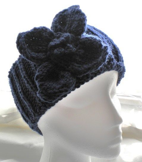 Brioche Headband With Flower Knitting Pattern