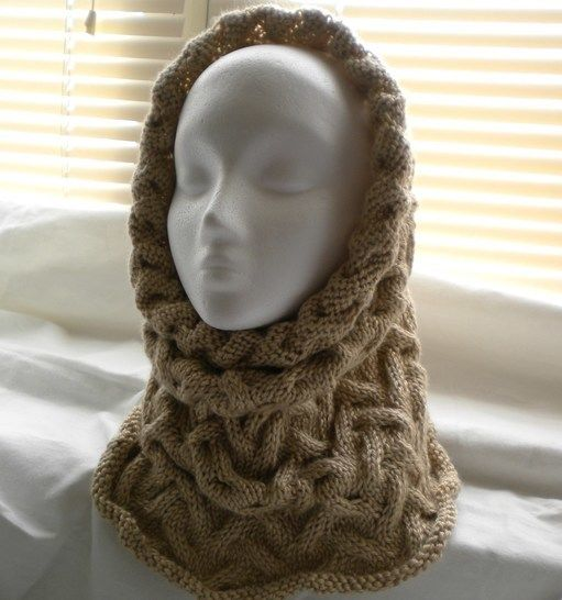 Wavy Cable Cowl Hood Knitting Pattern