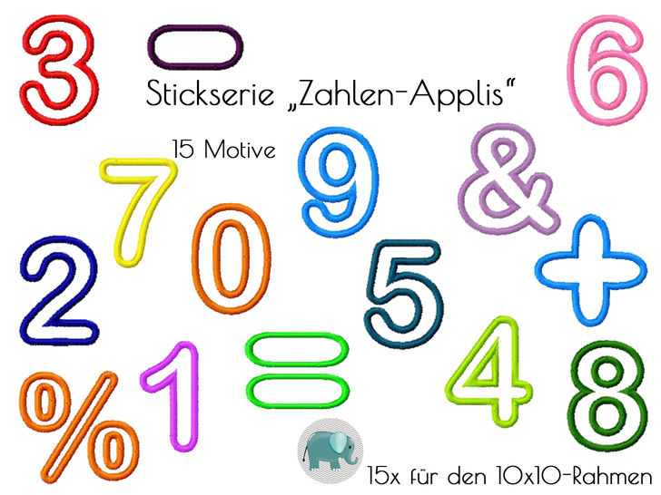Appli 123 Zahlen Nummern Stickserie Stickdatei Stickmotiv Applikation