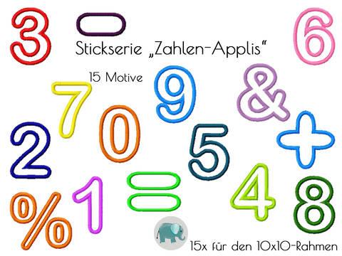 Appli 123 Zahlen Nummern Stickserie Stickdatei Stickmotiv Applikation bei Makerist sofort runterladen