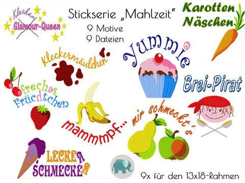 Stickserie Mahlzeit Stickdatei  Breizeit Essen Baby Lätzchen bei Makerist sofort runterladen