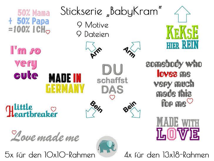 Babykram Stickserie Spruche Stickdatei Spruch Baby Geburt Body T