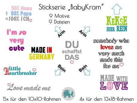 BabyKram Stickserie Sprüche Stickdatei Spruch Baby Geburt Body T-Shirt Handmade bei Makerist sofort runterladen