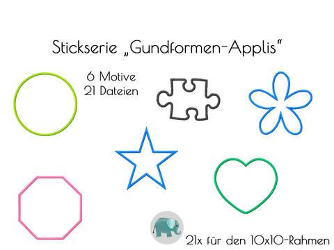 Formen Applikationen Grundformen Stickdatei Kreis Herz Stern Puzzle Blume Schild bei Makerist sofort runterladen