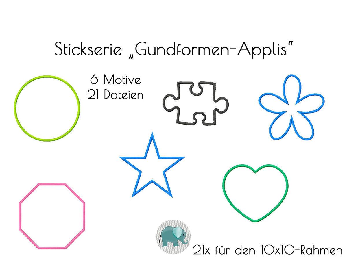 Formen Applikationen Grundformen Stickdatei Kreis Herz Stern Puzzle ...