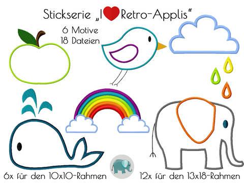 Stickdatei I love Retro Applis Stickmotiv Applikation Regenbogen Vogel Apfel Wal Elefant bei Makerist sofort runterladen
