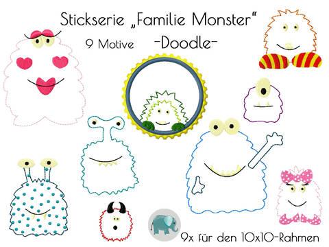 Familie Monster Stickdatei Stickserie Doodle bei Makerist sofort runterladen