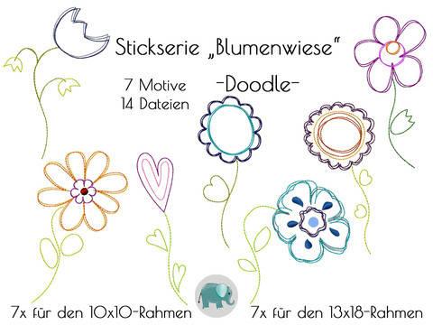 Doodle Stickdatei Blumen Blumenwiese Stickmotiv Blume Applikation Sonnenblume Retro bei Makerist sofort runterladen