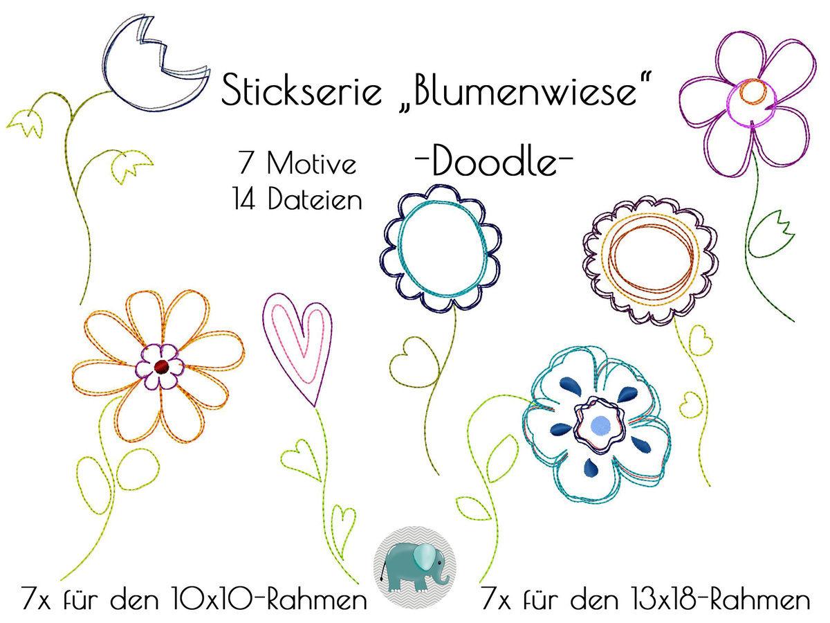 Doodle Stickdatei Blumen Blumenwiese Stickmotiv Blume Applikation ...