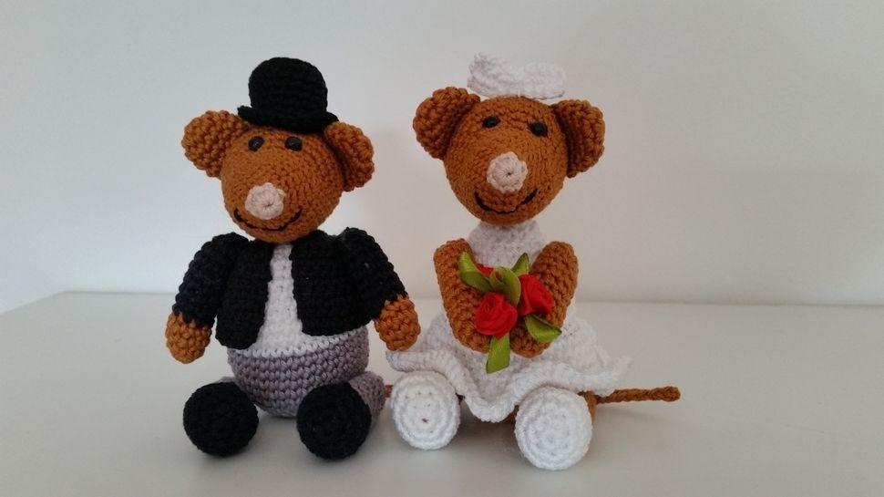 Häkelanleitung - Mäuse-Brautpaar