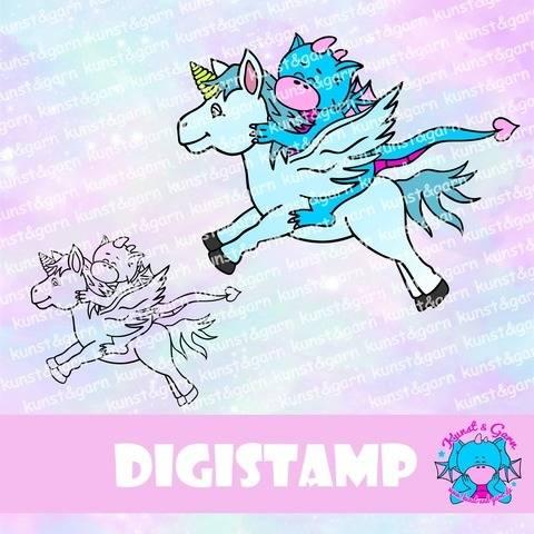 DigiStamp Einhorn-Pegasus-Lilo bei Makerist sofort runterladen