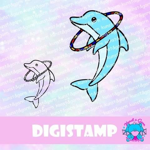 DigiStamp Delphin mit Reifen bei Makerist sofort runterladen