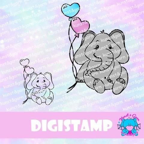 DigiStamp Elefant mit Luftballons bei Makerist sofort runterladen