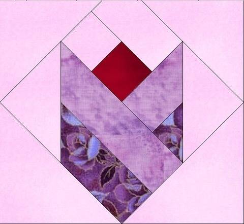 Download Tulip Love 10 Inch Paper Piece Foundation Quilting Block Pattern immediately at Makerist