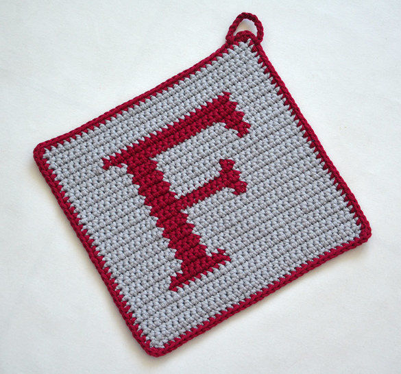 Letter F Potholder Crochet Pattern For Beginners