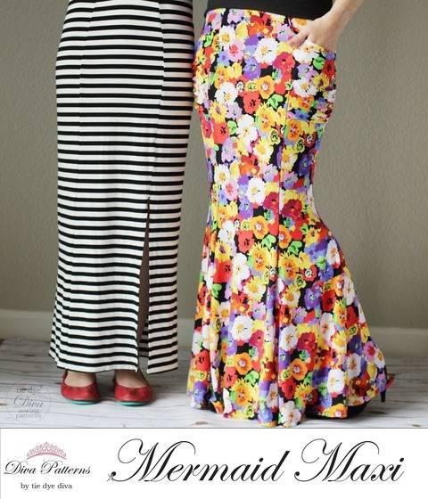 Download Mermaid Maxi Skirt - Womens PDF Skirt Pattern immediately at Makerist
