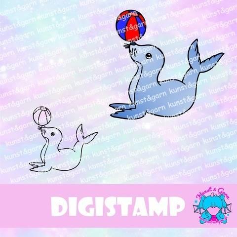 DigiStamp Seehund mit Ball bei Makerist sofort runterladen