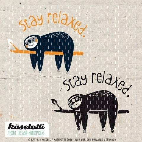 Download cutting file stay relaxed sloth immediately at Makerist