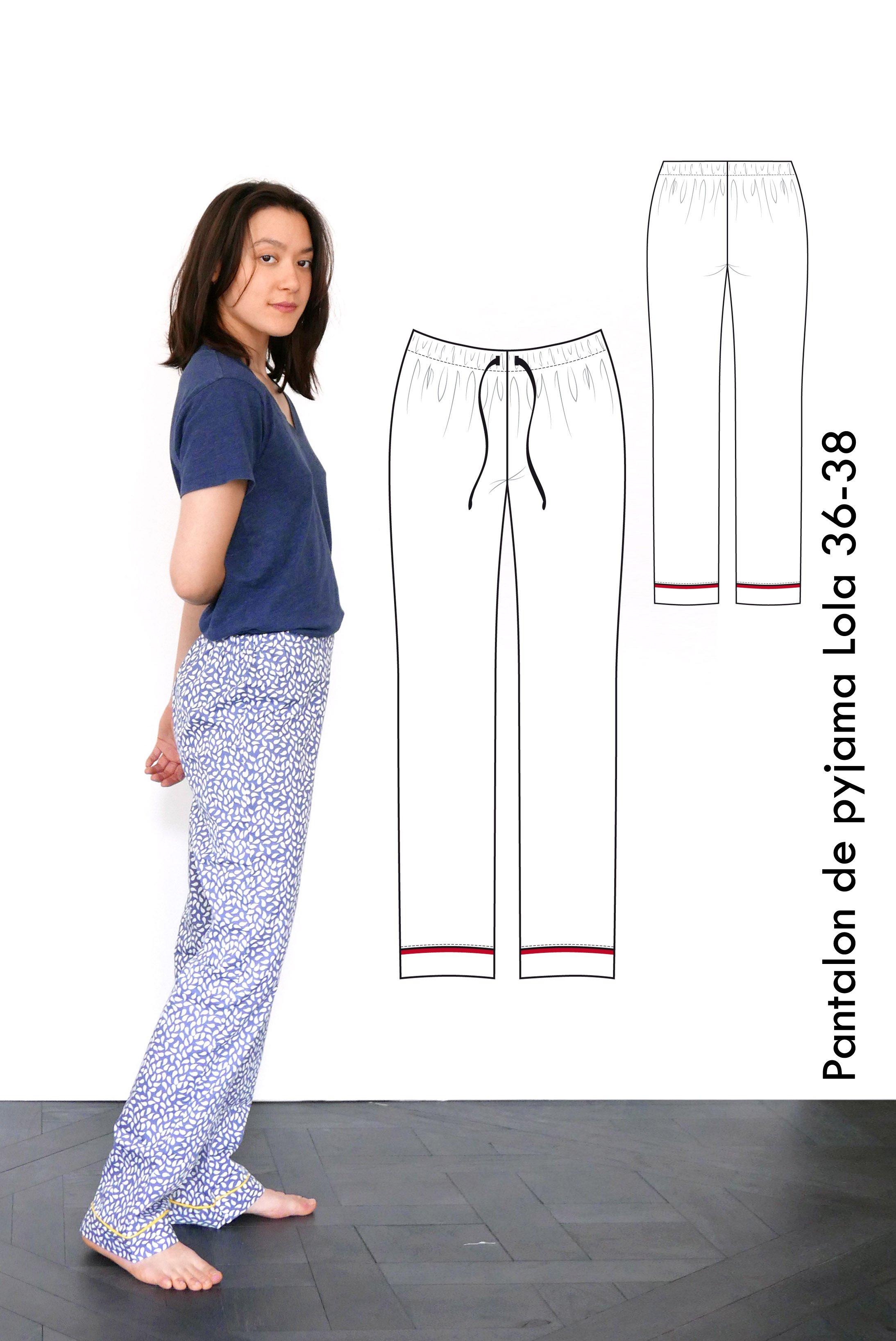 Relaxed jersey pants Leo, yoga pants, pyjama pants - M-L   US size 8-10    UK 10-12 - sewing pattern A4 + US letter 7f8777ae10db