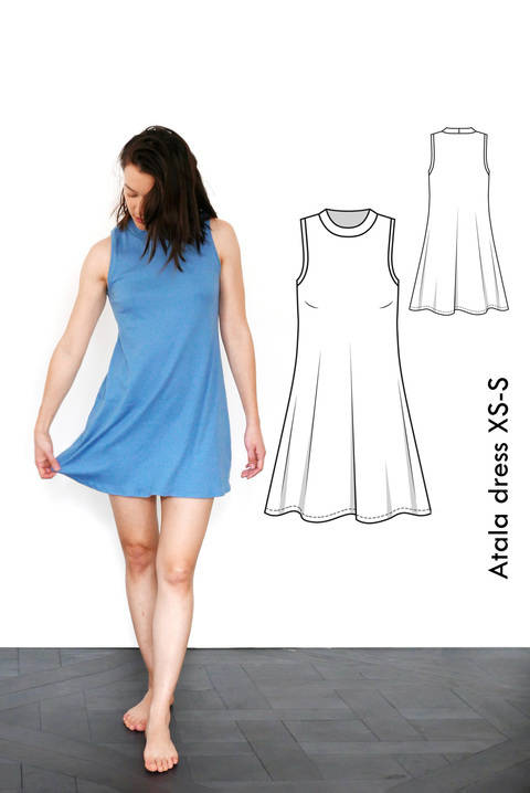 Download Atala sleeveless sporty dress - XS-S / US size 4-6 / UK 6-8 - sewing pattern A4 + US letter immediately at Makerist