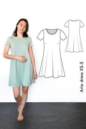 Download Aria Tshirt dress - XS-S / US size 4-6 / UK 6-8 - sewing pattern A4 + US letter immediately at Makerist