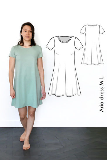 Download Aria Tshirt dress - M-L / US size 8-10 / UK 10-12 - sewing pattern A4 + US letter immediately at Makerist