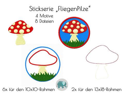 Stickmuster Stickdatei Pilz Fliegenpilz Button Stickmuster Doodle Applikation bei Makerist sofort runterladen