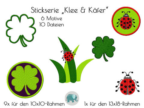 Stickmuster Stickdatei Klee Kleeblatt Irland Käfer Bug Marienkäfer Glück Glücksbringer Button Stickmuster Doodle Applikation bei Makerist sofort runterladen