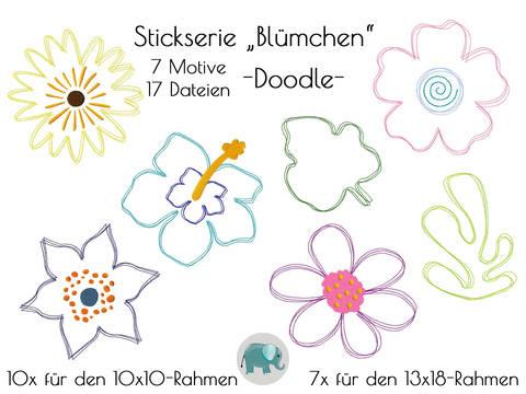 Doodle Stickdatei Blumen Blume Blümchen DoodleBlumen Stickmotiv Blume Applikation Sonnenblume Retro bei Makerist sofort runterladen