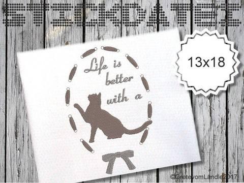 Katze 13x18 Stickdatei Better life bei Makerist