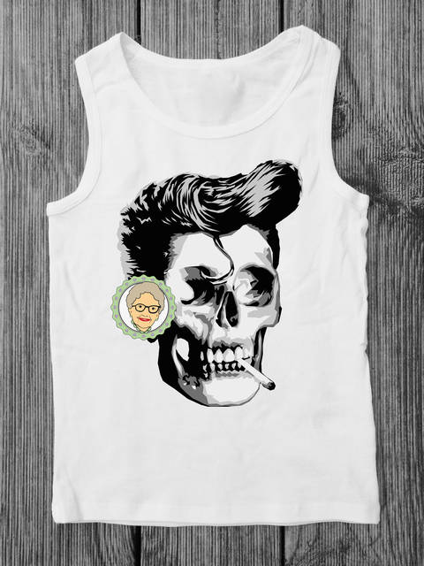 Download cutting file Smoker - multicolored realistic skull - rockabilly stil, for adults - with manual immediately at Makerist