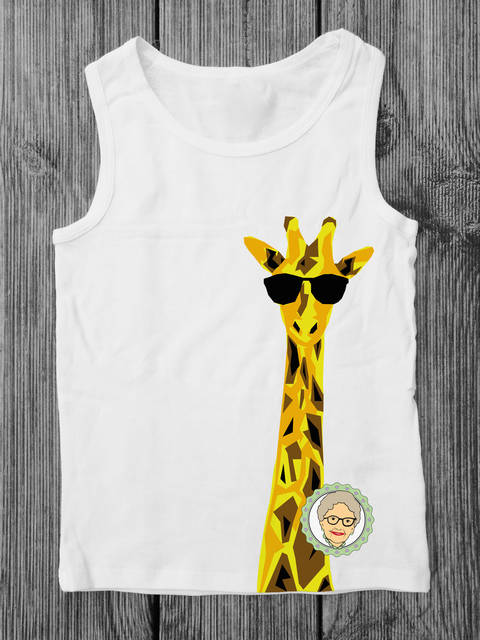 Download Cutting file Giraffe Gustav - mulitcolored cool giraffes cutting file with sunglasses, especially for kids - with manual immediately at Makerist