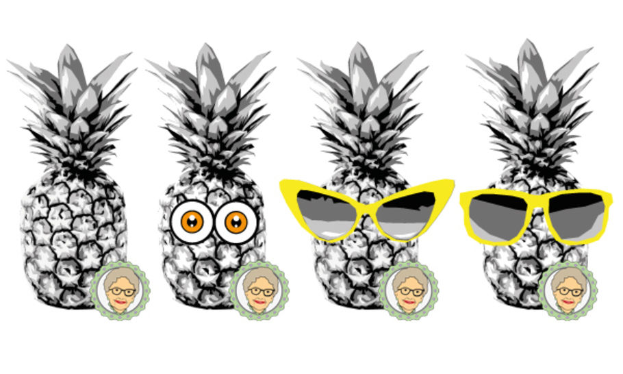 Cutting file set pineapple  - multicolor cool pineapple plot file set in 4 variants, for the whole family - with manual at Makerist - Image 1