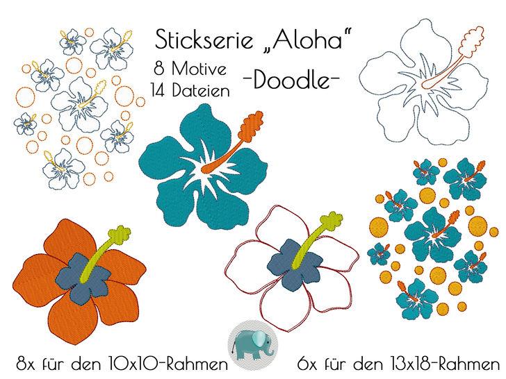 Aloha Hibiskus Stickdatei Blumen Blume Blüten Hawaii Stickmotiv Blume Applikation Surfen Strand Urlaub Sommer bei Makerist sofort runterladen