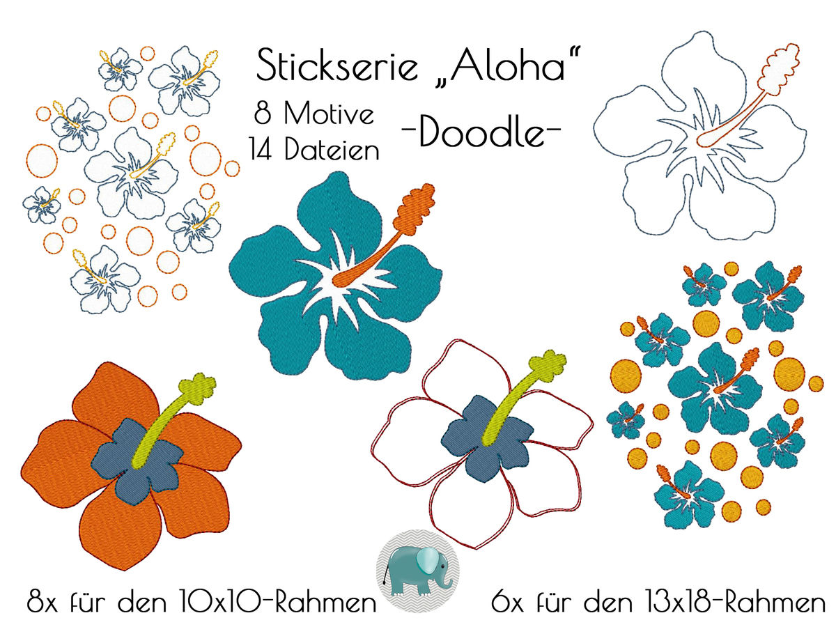 Aloha Hibiskus Stickdatei Blumen Blume Blüten Hawaii Stickmotiv ...