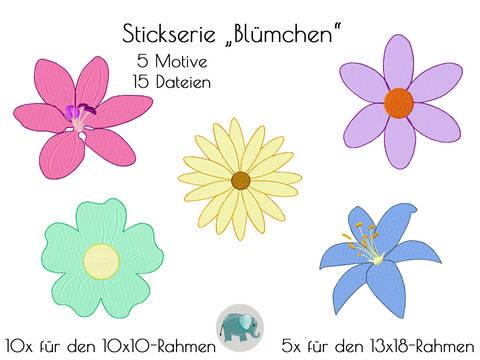 Blumen Blümchen Stickdatei Stickserie Blume Sonnenblume Applikation Button Stickmuster Hippie Mädchen Boho bei Makerist sofort runterladen