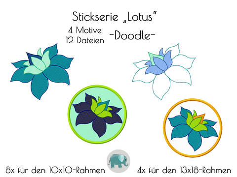 Lotus Asien Blüten Lotusblüte Om Meditation Yoga Stickdatei Doodle Blumen DoodleBlumen Stickmotiv Blume Applikation bei Makerist sofort runterladen
