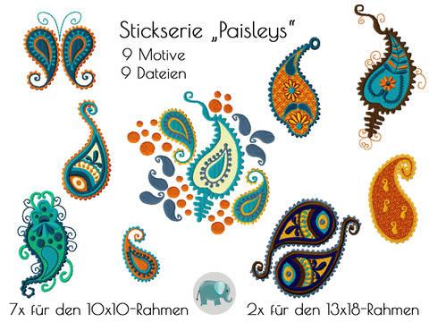 Paisley Indien Goa Hippie Paisleys Boho Asien Yoga OMStickmuster Stickdatei Stickmuster Applikation bei Makerist sofort runterladen