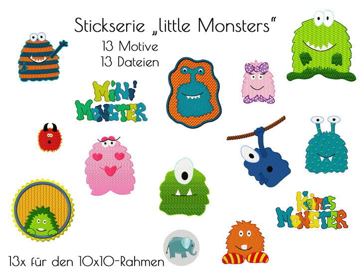 little Monsters Stickdatei Stickserie Monster Jungs boys Stickmuster
