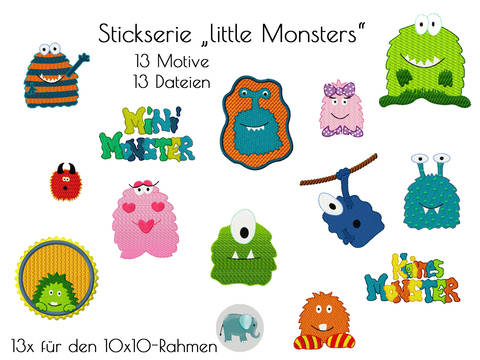 little Monsters Stickdatei Stickserie Monster Jungs boys Stickmuster bei Makerist sofort runterladen