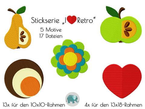 I love Retro Apfel Herz 70er Stickserie Stickmotiv Blume Birne bei Makerist sofort runterladen