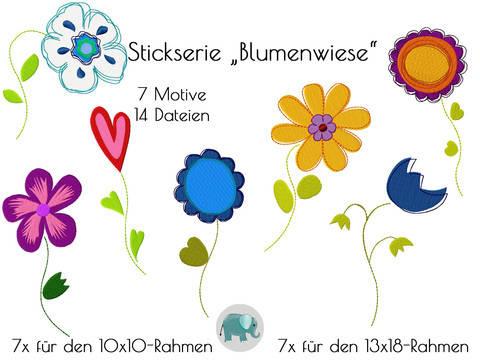 Blumenwiese Stickdatei Stickserie Blumen Stickmotiv Blume Tulpe Retroblume bei Makerist sofort runterladen